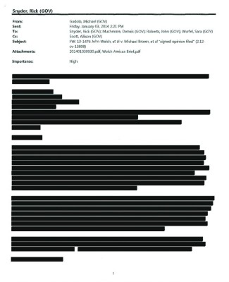 Heavily redacted email from Michigan Gov. Rick Snyder